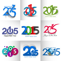 Collection of Happy new year 2015 Text Design