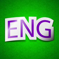 English icon sign. Symbol chic colored sticky label on green