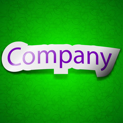 company icon sign. Symbol chic colored sticky label on green