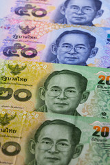 Different Thai Bath banknotes from Thailand