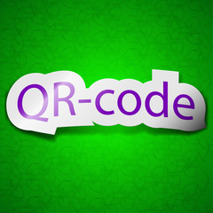 Qr code icon sign. Symbol chic colored sticky label on green