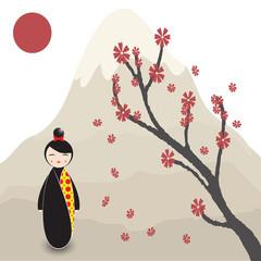 Kokeshi doll under sakura branch