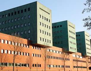 Modern office buildings in the city of Groningen