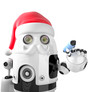 Robot Santa Claus holding a pen. Isolated