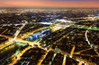 Aerial Night view of Paris