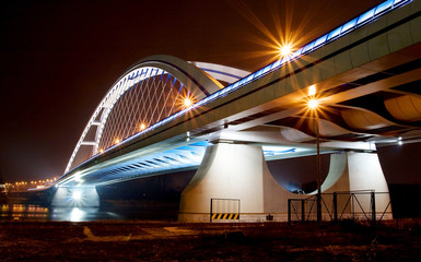 Bridge in Bratislava downtown during night. Slovakia. Name of br