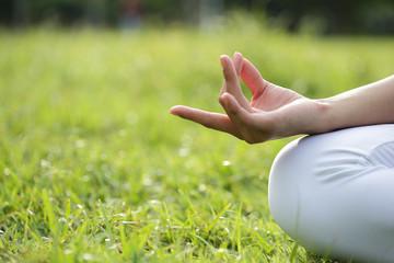 Yoga woman hand