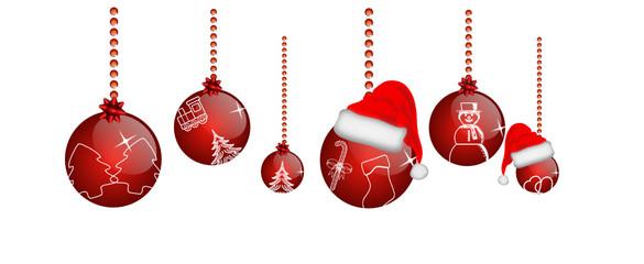 Rote Weihnachtskugeln mit Druck