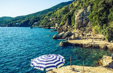 Elba island panorama of rocky coastline beach with umbrella.