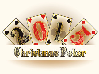 Christmas Poker happy new 2015 year cards, vector
