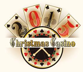 Christmas casino invitation card, vector illustration