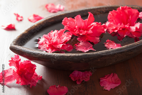 Fotobehang Azalea beautiful red azalea flowers in wooden bowl for spa