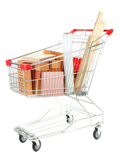 Shopping cart with materials for  home renovation, isolated