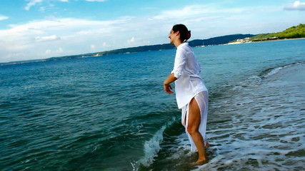 Playing, swimming and enjoying the delights of the beautiful sea