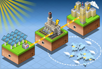 Isometric Infographic Energy Harvesting Diagram