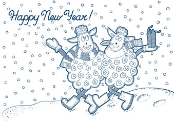 Happy New Year!	Vector background at  doodle style