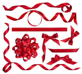 Various red bows, knots and ribbons isolated on white