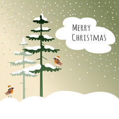 christmas card with birds, finches, in the winter wood, vector