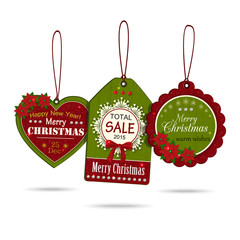 Set of three vintage christmas sale labels isolated on white
