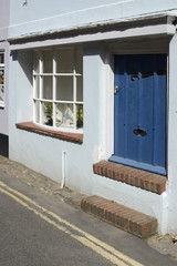 Flood defence doorway on house. England