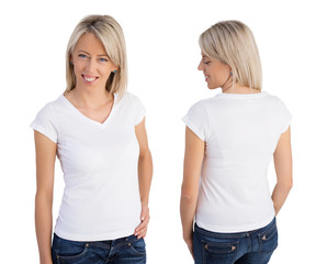 Woman wearing white v-neck t-shirt, front and back views