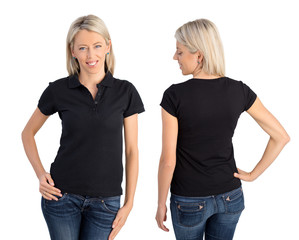 Woman wearing black polo shirt, front and back views