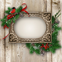Vintage wood texture with gorgeous frame and Xmas decoration