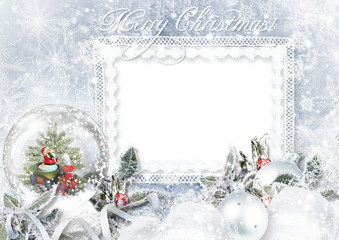 Greeting Card with Xmas Snow globe on frost background