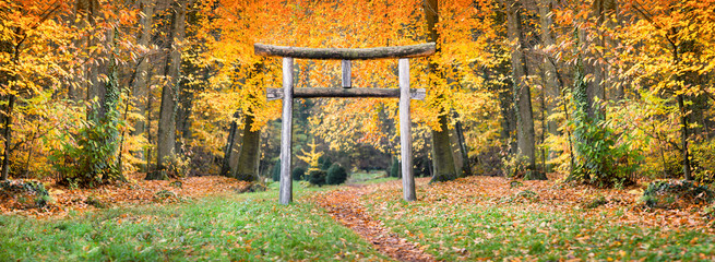 Japanischer Schrein im Wald