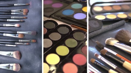 Make-up cosmetics tools collage