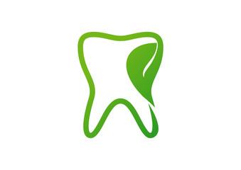 Dental icon tooth leaf logo vector