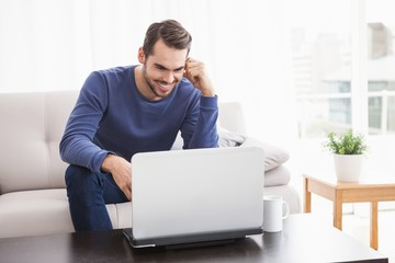 Smiling young man using his laptop