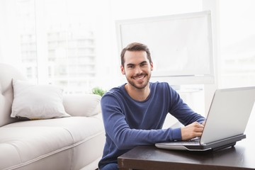 Smiling young man using his laptop
