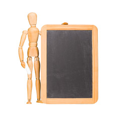 Wooden mannequin and chalkboard