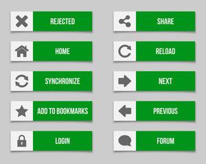 Flat green buttons set 2