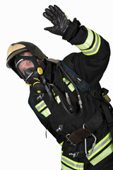 Firefighter in breathing apparatus gestures Ok