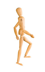 Wooden mannequin walking up invisible stairs