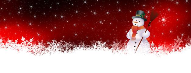 Weihnachskarte, Banner, Schnee, Nachthimmel, Stern, Schneemann