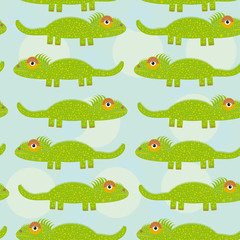 Funny green iguana Seamless pattern with cute animal on a blue