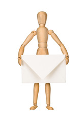 Wooden model dummy holding envelop
