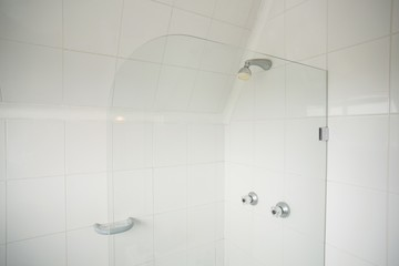 Shower with glass divide