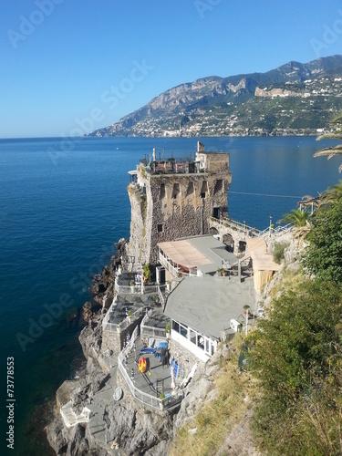 canvas print picture Turm Restaurant an der Amalfi Küste
