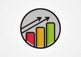 Building fullcolor growth arrow logo vector