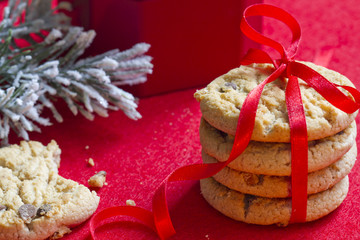 Christmas cookies with red ribbon closeup
