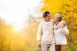 Leinwanddruck Bild - Active seniors walk in nature