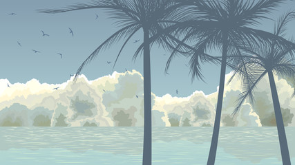 Palm trees on background of clouds and blue sea.