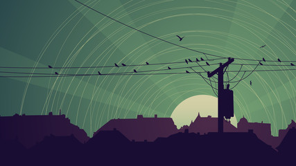 Horizontal abstract night card of flock birds on city power line
