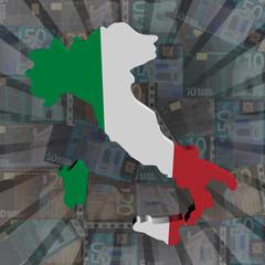 Italy map flag on euros sunburst illustration