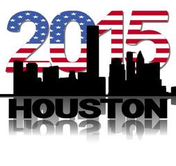Houston skyline 2015 flag text illustration