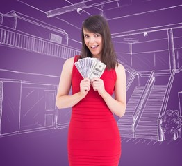 Composite image of woman is holding american dollars